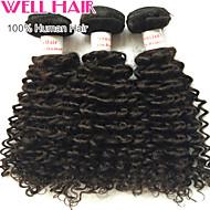처녀 머리 깊은 파 사람의 모발 peruviann 저렴한 3 번들 8'- 30 '인치 자연 검은 머리 확장