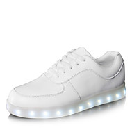 LED Light Up Shoes, Women's Men's Spring Summer Fall Winter Leatherette Outdoor Casual Athletic Party & Evening Flat Heel Lace-up White