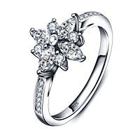 925 Sterling Silver Women Jewelry High Quality Fashion Flower Ring with Cubic Zirconia Setting Perfect Gift For Girls