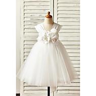 A-line Knee-length Flower Girl Dress - Satin / Tulle Sleeveless