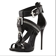 Women's Shoes Leatherette Stiletto Heel Open Toe Sandals Office & Career/Party & Evening/Dress Black/White