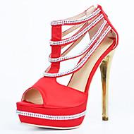 Feminino-Sandálias-Plataforma / Sapatos com Bolsa Combinando-Salto Agulha-Vermelho-Cetim-Casamento / Casual / Festas & Noite