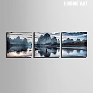 E-HOME® Stretched Canvas Art Scenery of Mountains And Rivers Decorative Painting Set of 3