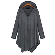 Women's Solid / Patchwork Black / Gray T-shirt , Hooded Long Sleeve