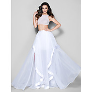 Formal Evening Dress - Ivory Plus Sizes / Petite A-line Jewel Sweep/Brush Train Organza