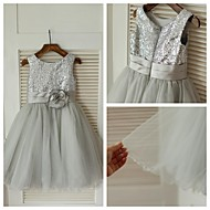 Ball Gown Knee-length Flower Girl Dress - Tulle / Sequined Sleeveless