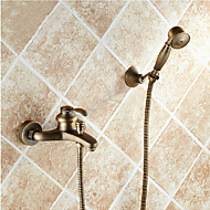 Bathroom Wall Mounted Antique Brass Bathtub Faucet with Hand Shower Set