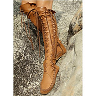 Women's Shoes Leather Flat Heel Fashion Boots Boots Office & Career / Dress / Casual Brown / Pink / Purple / Orange