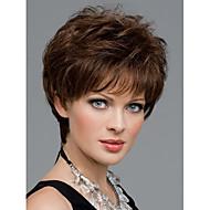 naiset mukava lyhyt luonnollinen suora peruukki tyylikäs nainen ruskeat synteettiset peruukit