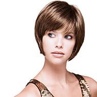 High Quality Capless Virgin Remy Short Wavy Straight Mono Top  Human Hair Wigs