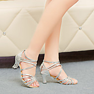 Women's Dance Shoes Latin Leatherette Chunky Heel Silver/Gold
