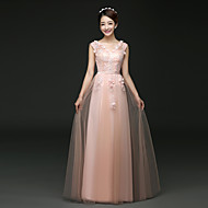 Formal Evening Dress - Blushing Pink / Ruby A-line V-neck Floor-length Tulle