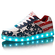 LED Light Up Shoes, Women's Men's Spring Summer Fall Winter Leatherette Outdoor Casual Athletic Party & Evening Flat Heel Lace-up Blue Red