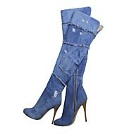 FemininoBotas da Moda-Salto Agulha-Azul-Lona-Escritório & Trabalho / Social / Casual