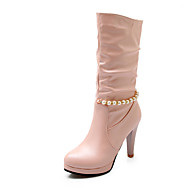 Women's Shoes Chunky Heel Fashion Boots / Round Toe Boots Dress / Casual Black / Pink / White