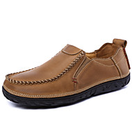 Men's Spring Summer Fall Winter Leather Outdoor Office & Career Casual Athletic Party & Evening Flat Heel Brown Khaki