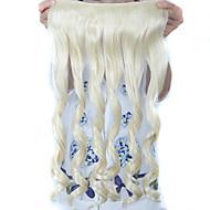 24 palců dlouhé kudrnaté 5 klipy v prodlužování vlasů teplotně odolnou umělou příčesek