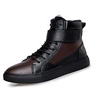 מגפיים גברים של נעליים קז'ואל עור שחור / חום