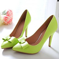 Women's Spring Summer Fall Winter Leather Wedding Office & Career Dress Stiletto Heel Bowknot Black Green Pink White