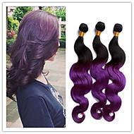 3szt / dużo 1b fioletowym # ombre brazylijski ciało fala dziewiczych brazylijskich ludzkich włosów rozszerzeniach nieprzetworzone
