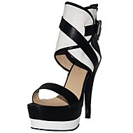 Women's Shoes Leatherette Spring / Summer / Fall Open Toe Office & Career / Dress / Party & Evening Stiletto Heel Multi-color