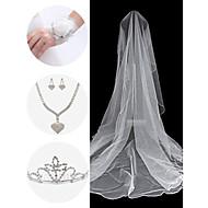 bryllup tilbehør satt (slør& leddet corsage& hodeplagg& halskjede& øredobber)