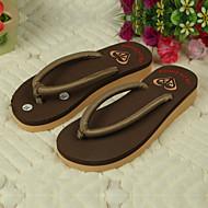 Women's Shoes PVC Flat Heel Flip Flops Slippers Outdoor Black / Brown / Yellow / Green / Pink / Beige