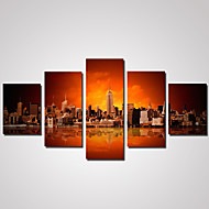 5 Panels City Night View Picture Print on Canvas Unframed