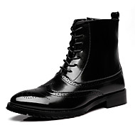 Men's Fall / Winter T-Strap / Comfort / Bootie / Pointed Toe / Closed Toe Leather Office & Career / Casual Low Heel Lace-upBlack / Brown