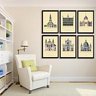 Αρχιτεκτονική Καμβάς σε Κορνίζα / Σετ σε Κορνίζα Wall Art,PVC Μαύρο Χωρίς Χάρτινο Φόντο με Πλαίσιο Wall Art