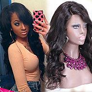 """Unprocessed 10""""-24"""" Brazilian Virgin Hair Natural Color Wavy Full Lace Wig With Side Bang 130% Density Human Hair Wigs"""