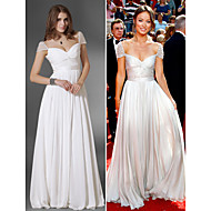 TS Couture Prom / Military Ball / Formal Evening Dress - White Plus Sizes / Petite A-line / Princess V-neck / Off-the-shoulder Floor-length Chiffon