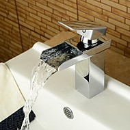 Contemporain Set de centre Cascade with  Soupape céramique Mitigeur un trou for  Chrome , Robinet lavabo
