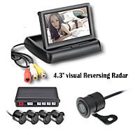 4.3 אינץ 'renepai® מכונית מצלמת וידאו תצוגת LCD חיישני חניה 4 בדיקה לאחור 12V אזעקת זמזם ערכת מערכת רדאר גיבוי
