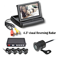 renepai® 4,3 inch 4 sonde parkeersensoren LCD-display van de camera video-auto achteruit back-up radar kit zoemer 12v