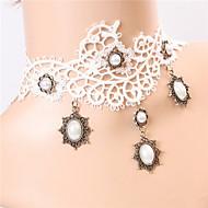 Wind Lace White Retro  Diamond  Bridal Necklace