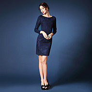 Sheath/Column Mother of the Bride Dress - Ruby / Dark Navy Short/Mini Long Sleeve Polyester
