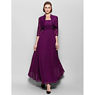 A-line Mother of the Bride Dress Ankle-length 3/4 Length Sleeve Chiffon / Lace with Beading / Lace / Ruching