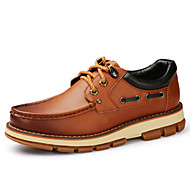 Men's Shoes Outdoor / Athletic / Casual Leather Boat Shoes Black / Brown