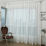 Country Curtains® Faux Linen Stripe Sheer Curtain Two Panel Curtains Drapes
