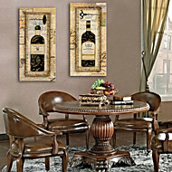 Stretched Canvas Art European Wine Bottle Decoration Painting Set of 2