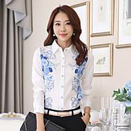 Overhemdkraag - Chiffon - Bloem - Vrouwen - Overhemd - Lange mouw