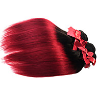 Brazilian Virgin Ombre Silky Straight Hair Weaves 1pcs Two Tone T1B/BG Human Hair Extensions Wefts 50g/pcs