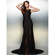 Formal Evening Dress - Black Trumpet/Mermaid Scoop Court Train Jersey