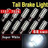 10 x קסנון 1,157 לבנים bay15d 68-SMD תחנת בלם זנב המכונית הובילה הנורה 2,057 7528