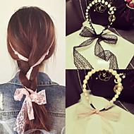 Etelä-Korean aristokraattinen tuuli helmi pitsi bowknot nauha sitoa hiukset bändi