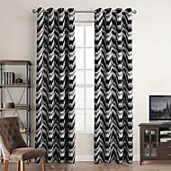 Modern One Panel Stripe Black Bedroom Polyester Blackout Curtains Drapes