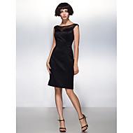 칵테일 파티 드레스 - 블랙 시스/컬럼 무릎길이 스쿱 사틴