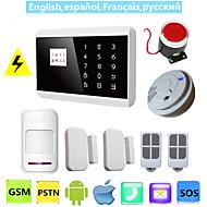 ios android app lcd toque inteligente gsm pstn sms sistema sem fio com fio de voz de segurança em casa de alarme com detector de fumaça
