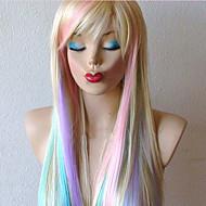 destaca o gradiente longa reta jogo cabelo anime cosplay peruca as perucas louras partido extravagante vestido
